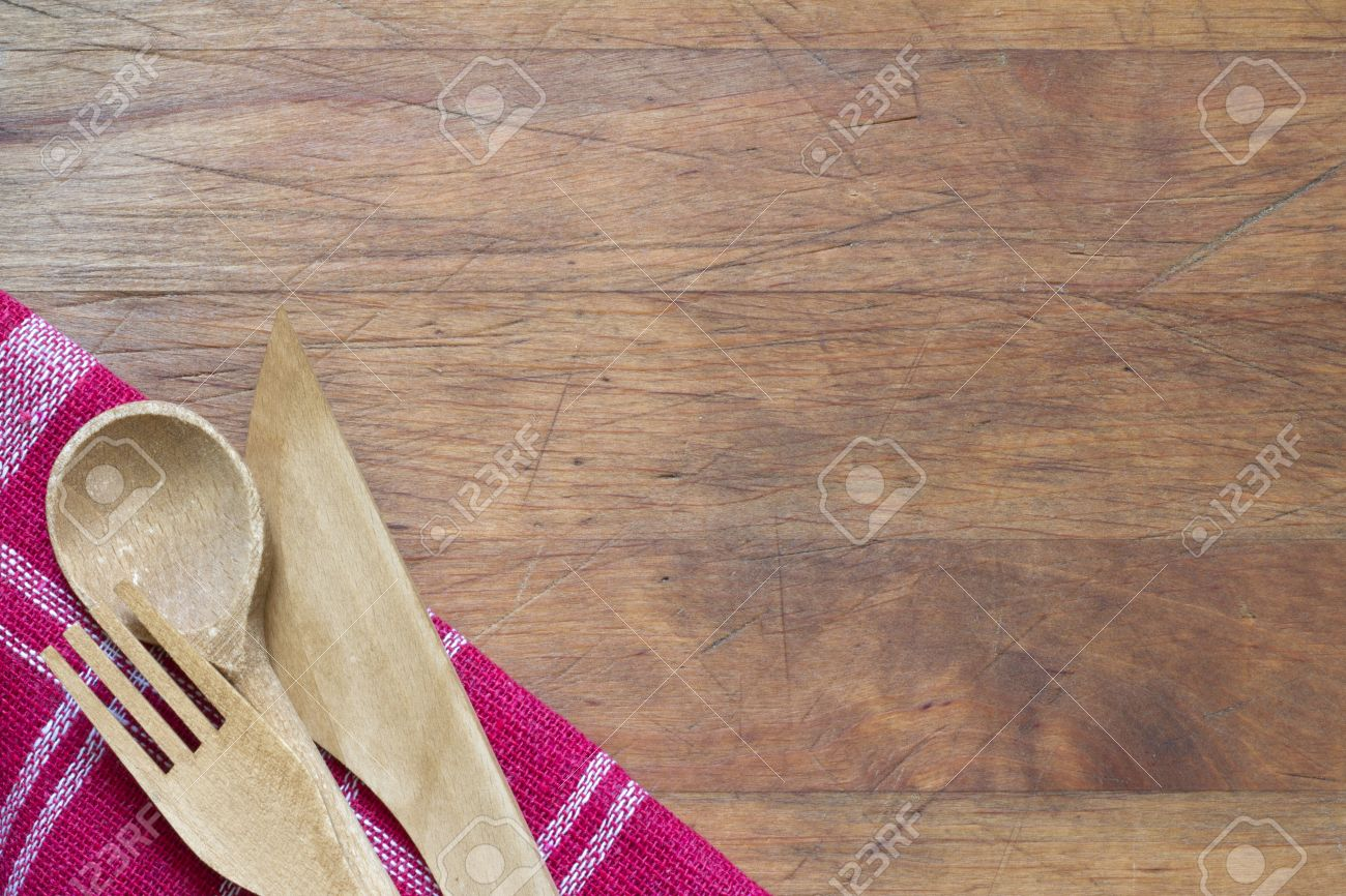 Food Background wooden cutlery on cutting board abstract food background stock