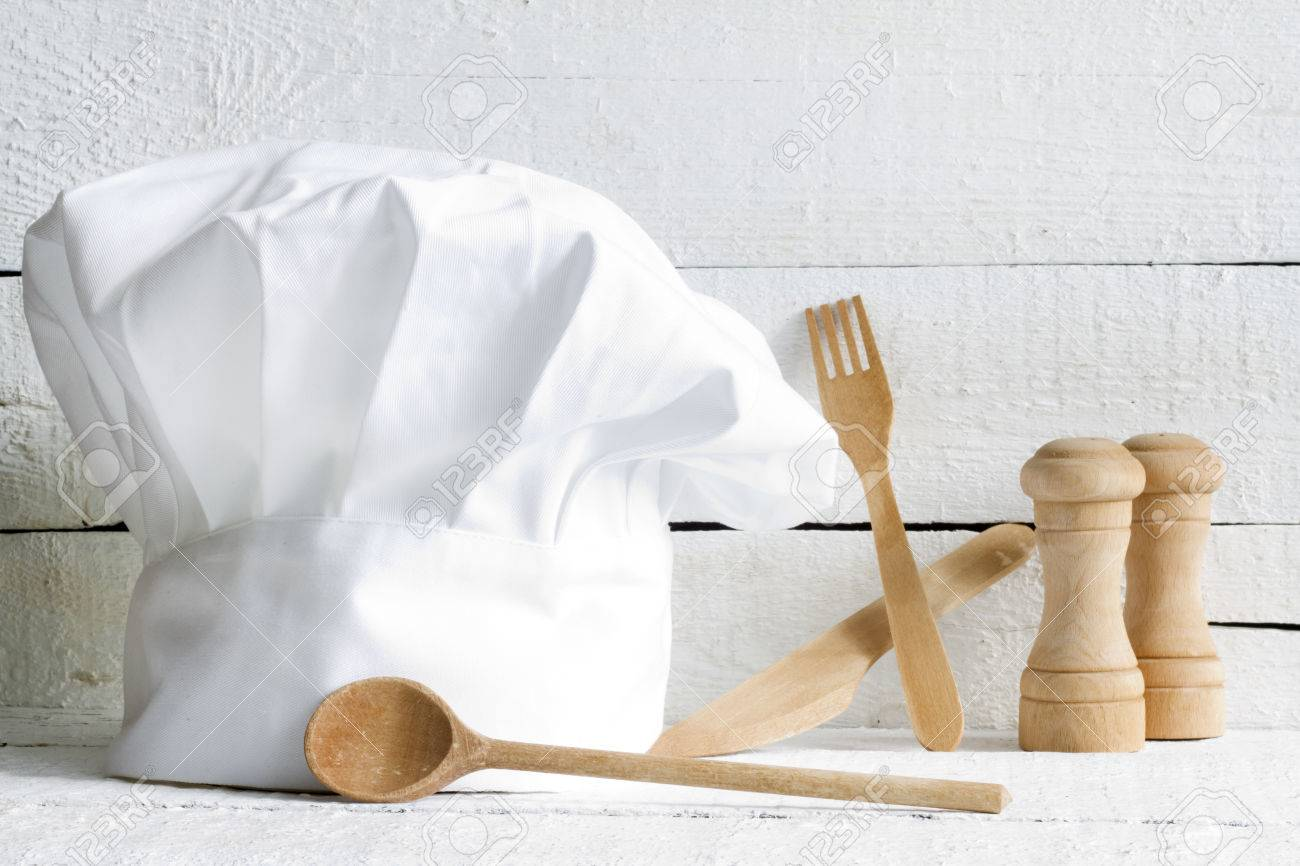 Chef Hat And Wooden Kitchenware Food Abstract On White Boards Stock ...