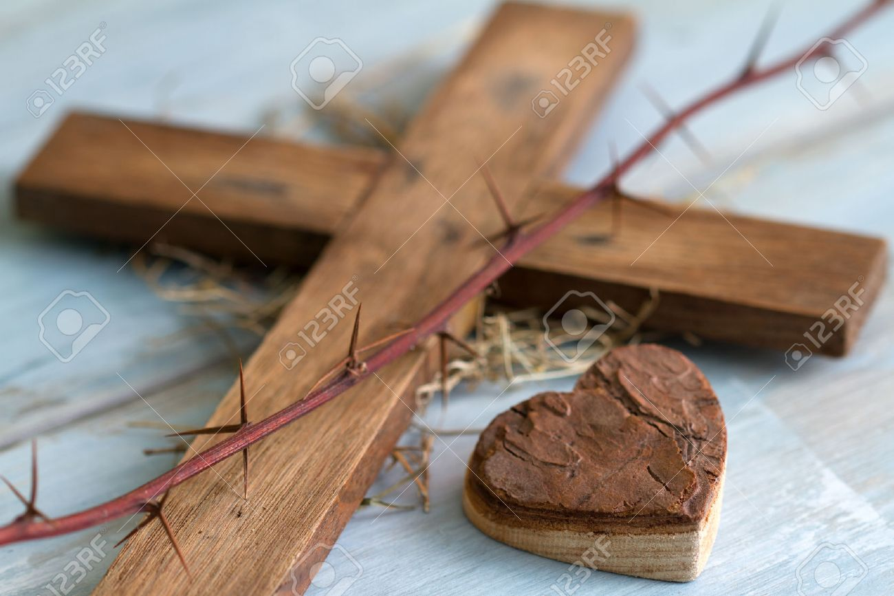 Cross thorn and wooden heart abstract easter concept - 51758209