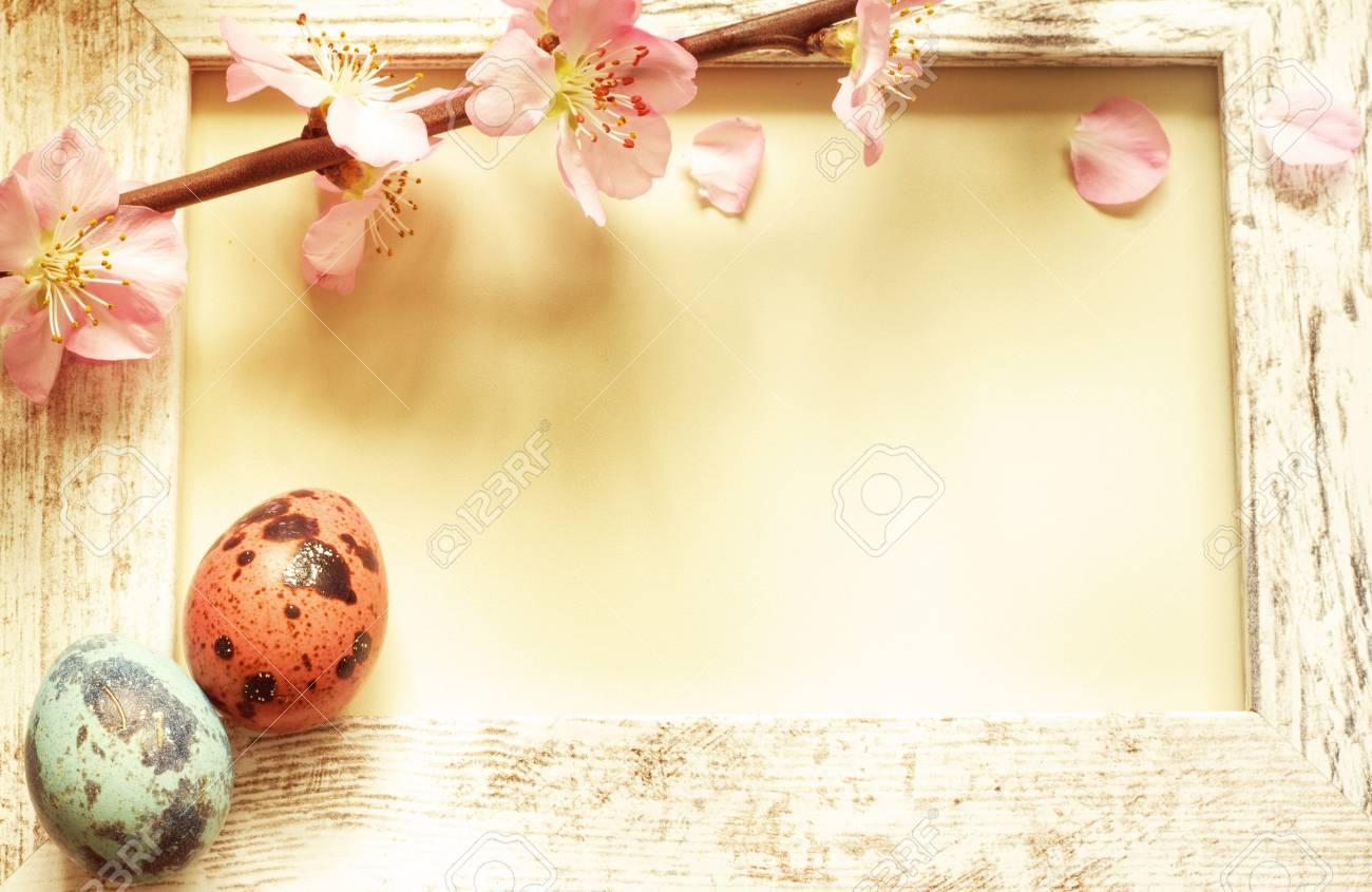 Ostereier Und Vintage Fotorahmen Mit Kirschblüten Lizenzfreie Fotos ...
