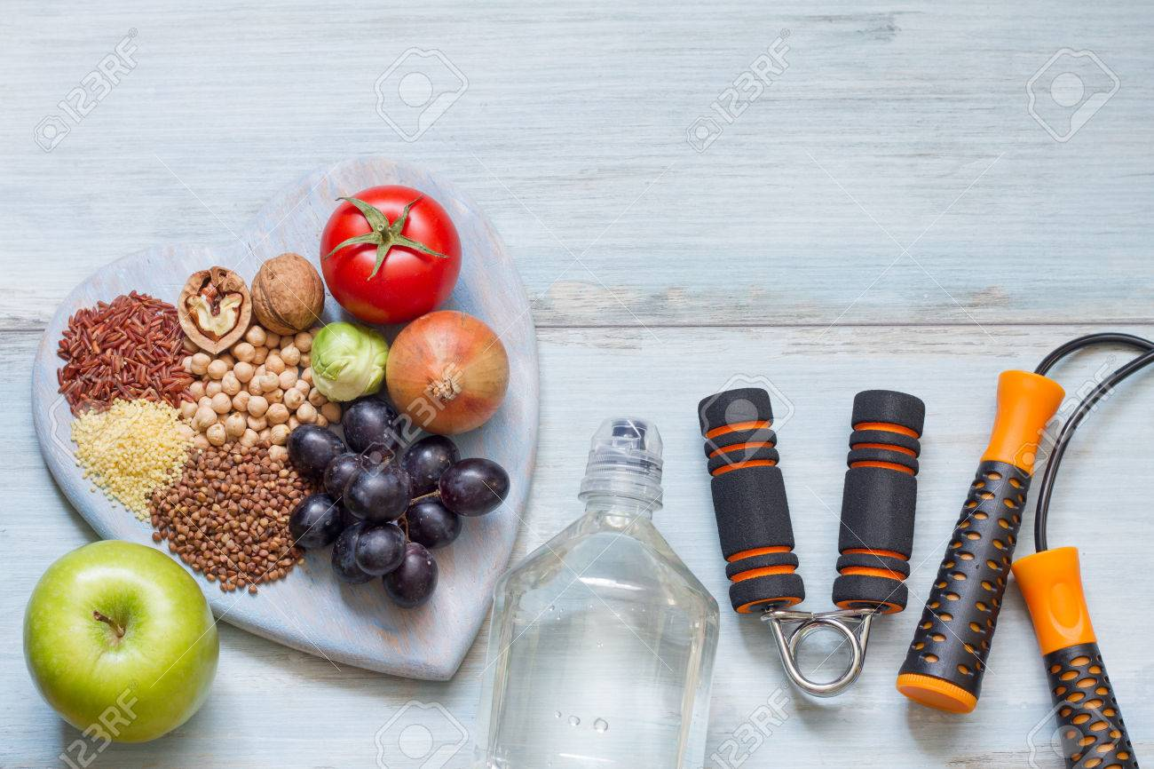 Healthy lifestyle concept with diet and fitness - 52648872