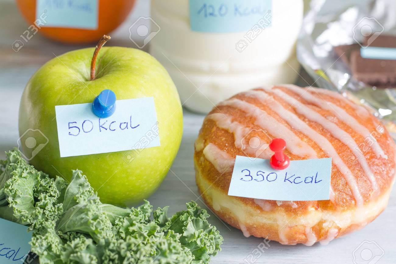 Calorie counting and food with labels concept - 55278070