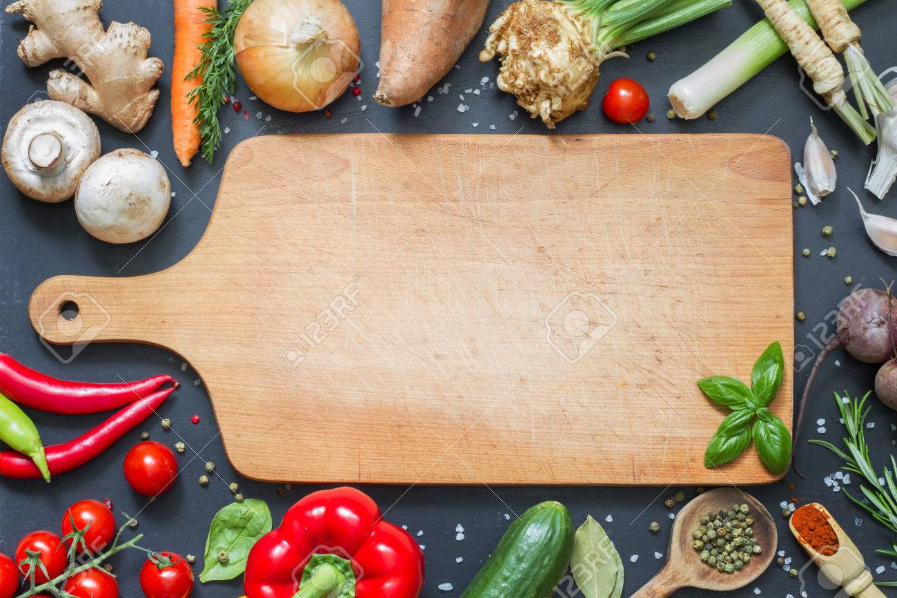cutting board with food storage spice herbs and vegetables frame food background empty cutting board stock photo 60214494 herbs and vegetables frame food background empty cutting