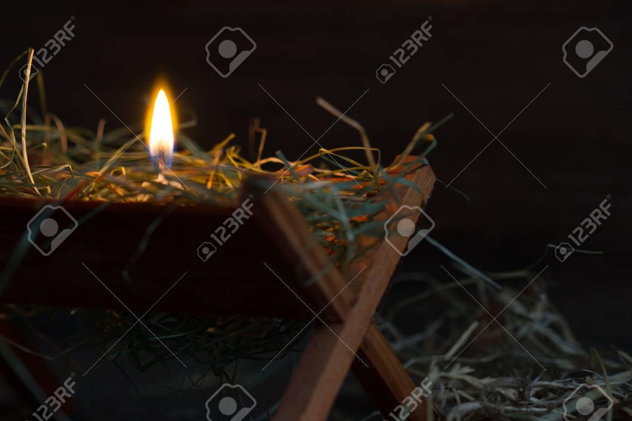 Manger Jesus And Light Of Hope Abstract Christmas Symbol Stock Photo ...