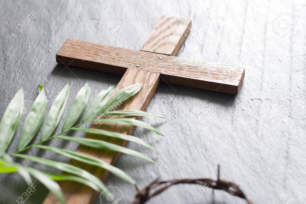 Easter wooden cross on black marble background religion abstract palm sunday concept - 115736158