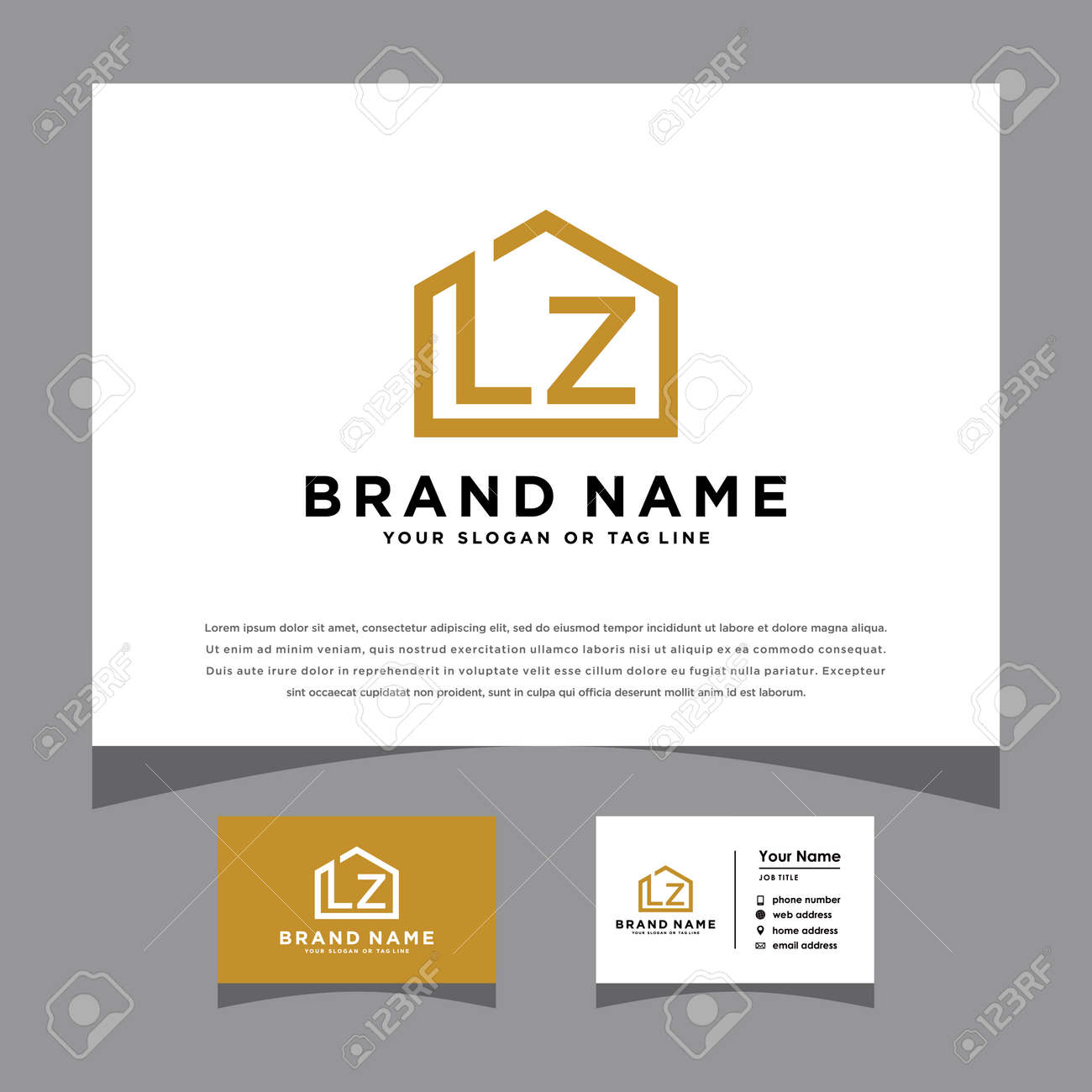 initials LZ logo with a business card vector template - 160665356