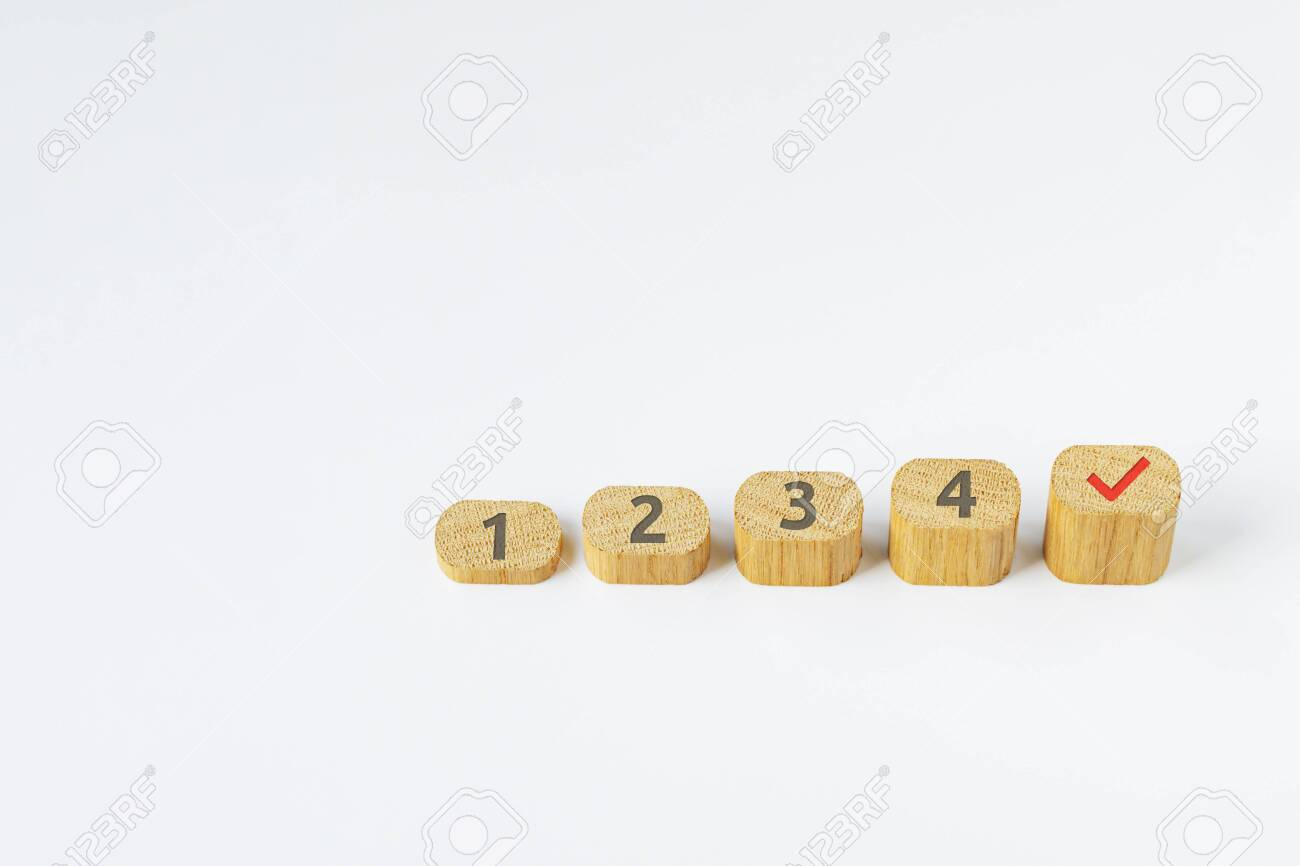 Collage of wooden blocks on a white background - 145004680