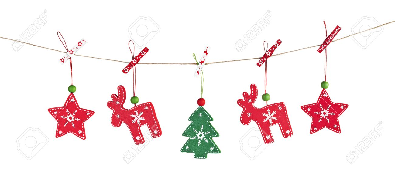 hanging wooden christmas decorations white background stock photo 24993854