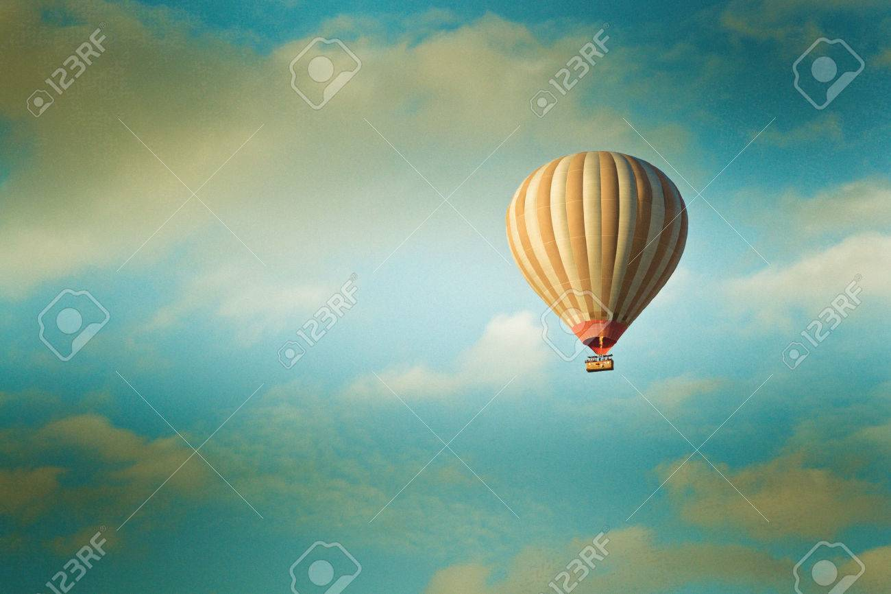 vintage hot air balloon in the sky - 45594809
