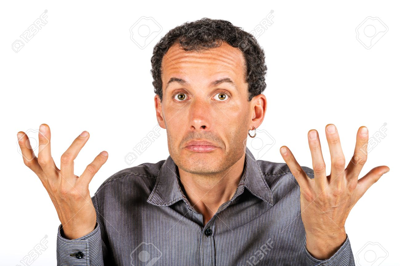 confused man giving i don t know gesture stock photo picture and