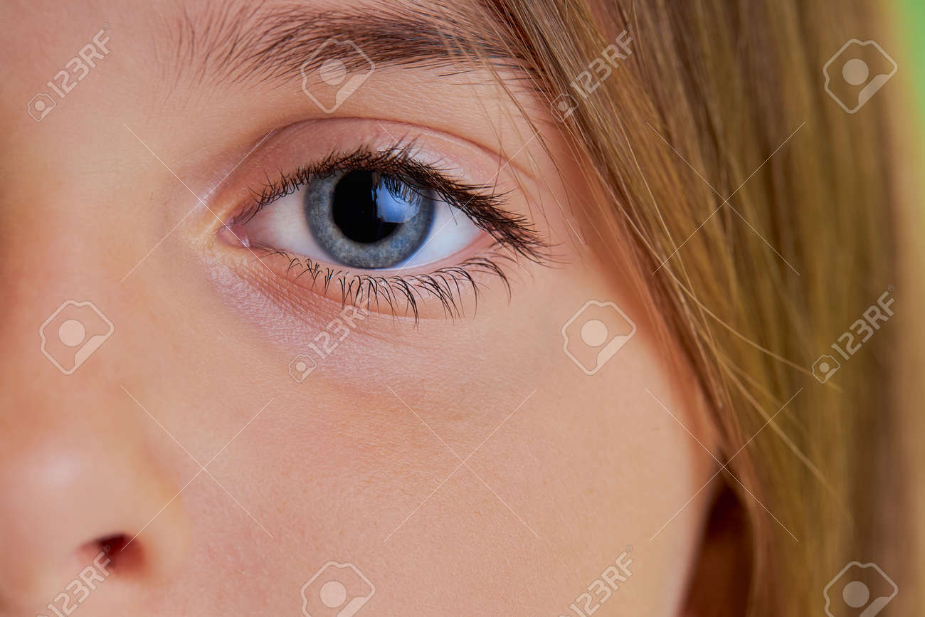 close-up photo of little girls blue eyes, macro photo of childs eyes, look at camera. natural beauty, fresh skin concept - 158656936