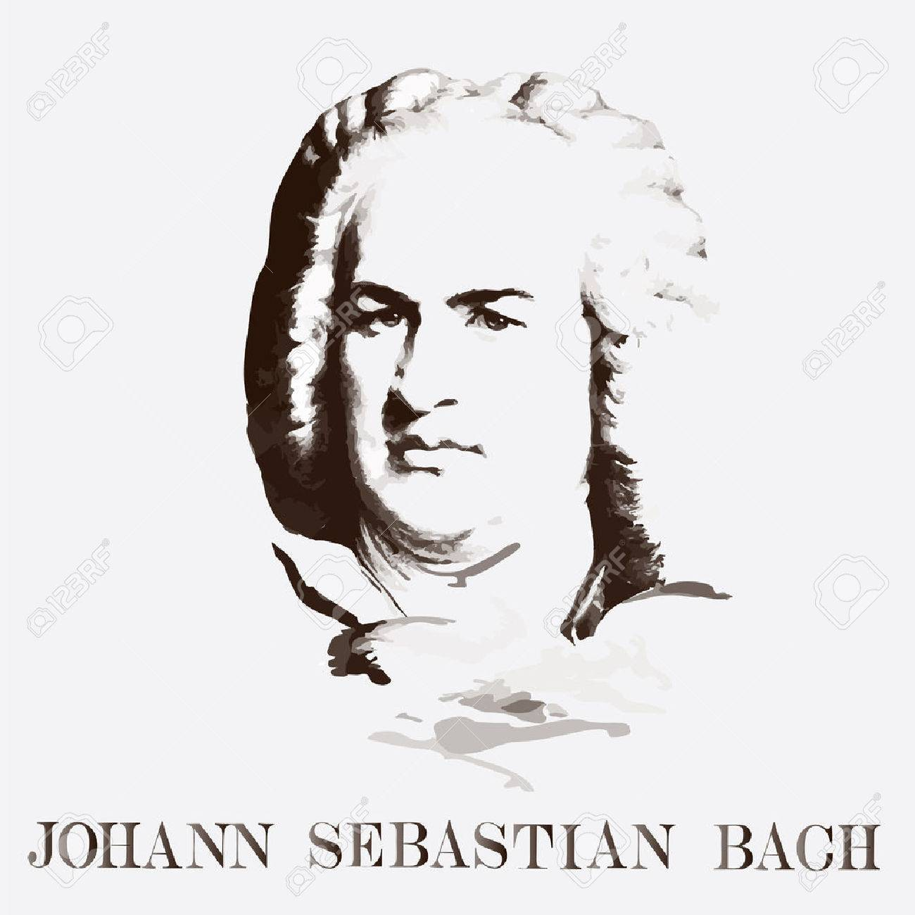 German composer Johann Sebastian Bach. vector portrait - 56242273