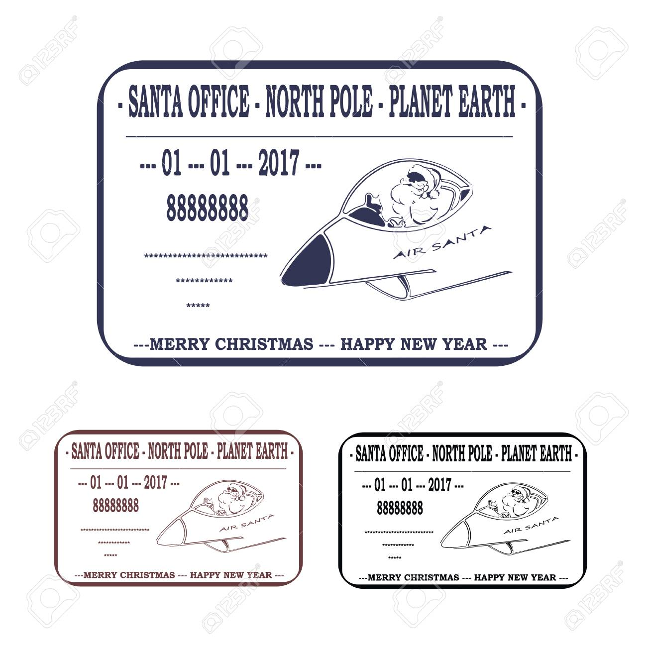 Christmas, New Year. Letter To Santa Claus. Template Stamp Royalty ...