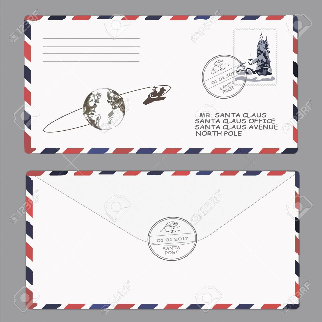 クリスマス新年サンタ クロースへの手紙テンプレート封筒スタンプ