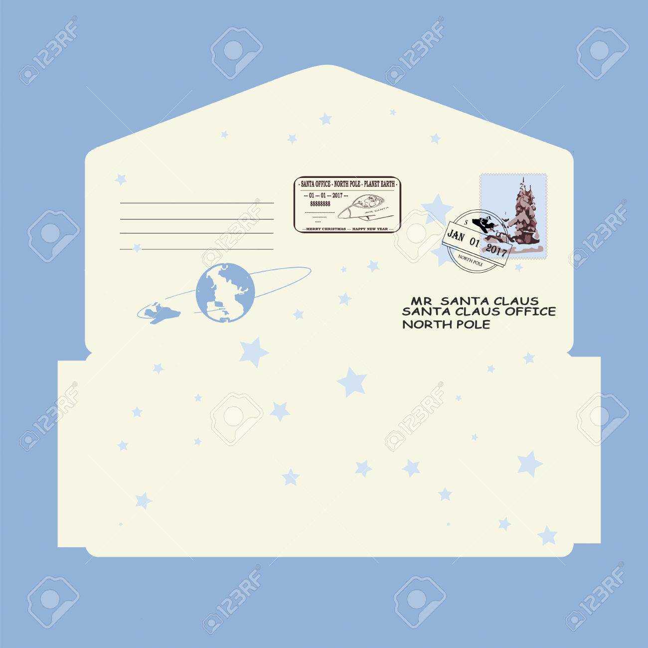 Christmas, New Year. Letter To Santa Claus. Template Envelope ...