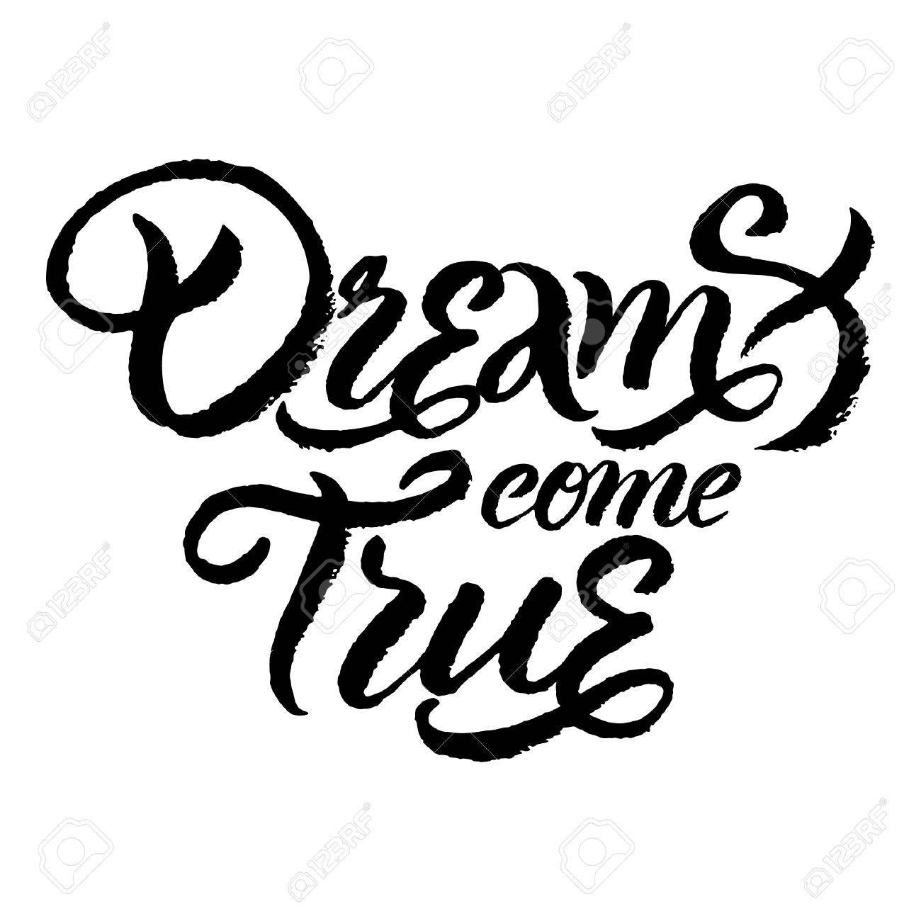 Vector handwritten lettering dreams come true for poster or vector vector handwritten lettering dreams come true for poster or card design thecheapjerseys Choice Image