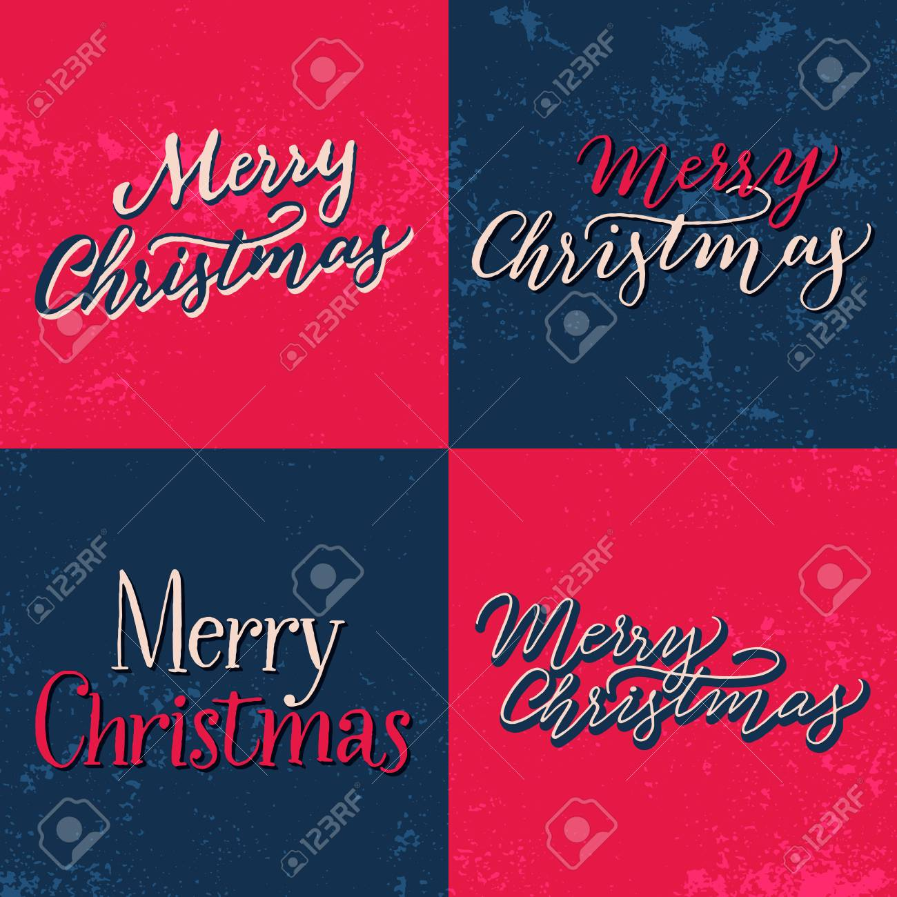 Set Of Vintage Christmas Cards With Hand Lettering. Handwritten Calligraphy  U0027Merry Christmasu0027 On