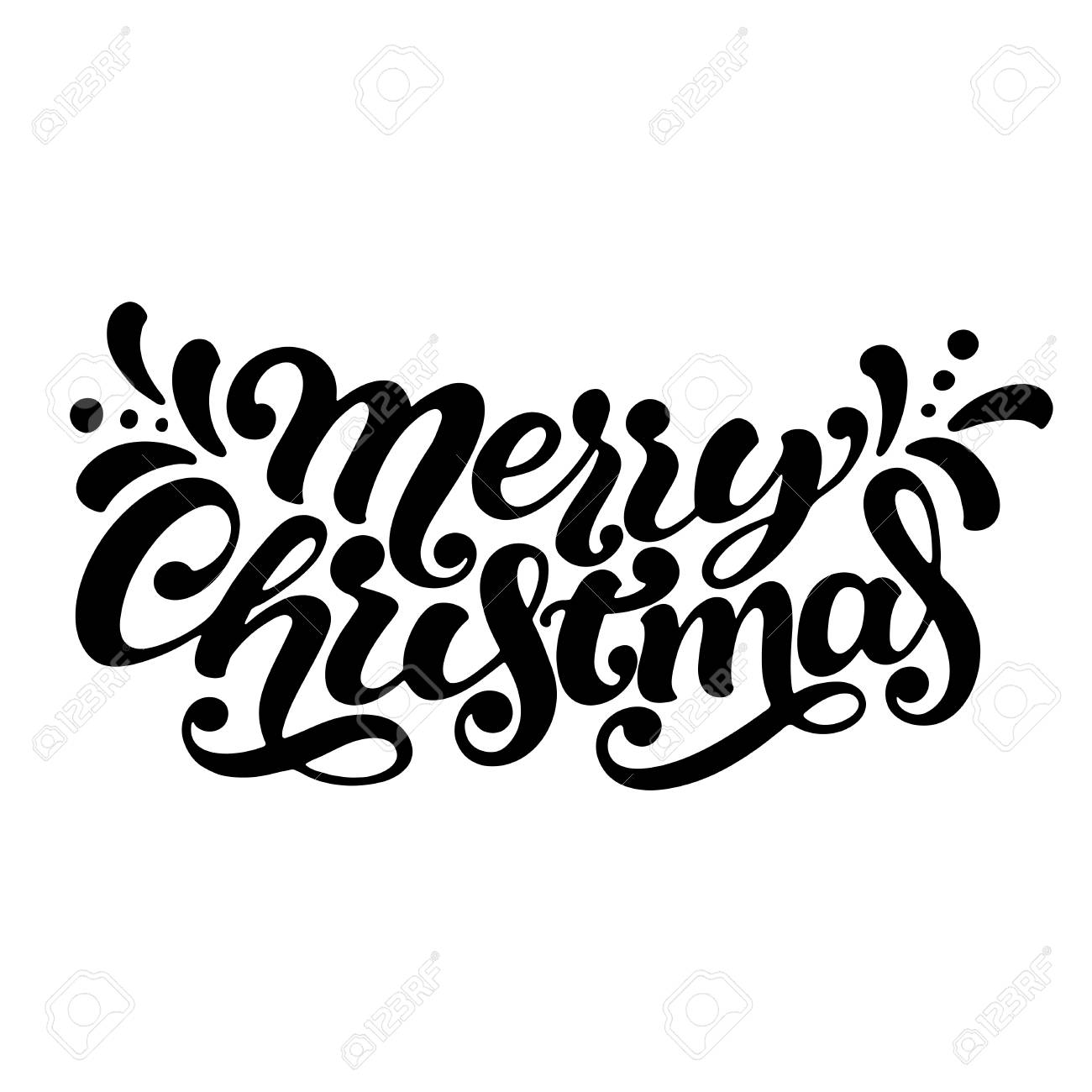 hand lettering merry christmas isolated on white background for christmas banner card and