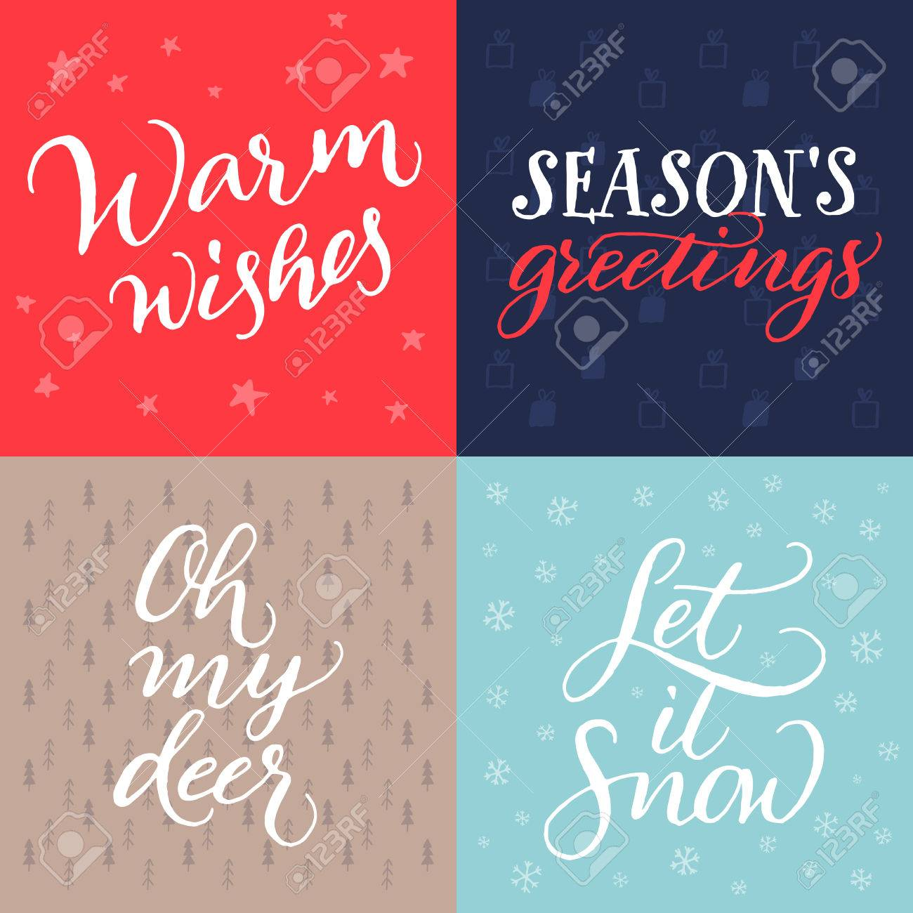 Set Of Christmas Cards Vector Hand Calligraphy Warm Wishes