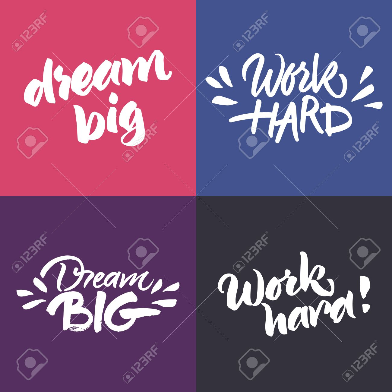 Motivational Phrases Set Of Inspirational And Motivational Quotes 'dream Big' And