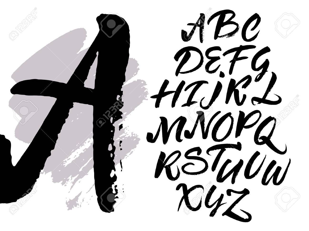 Expressive brush calligraphic handwritten script letters. Alphabet written with black ink. Stock Vector -