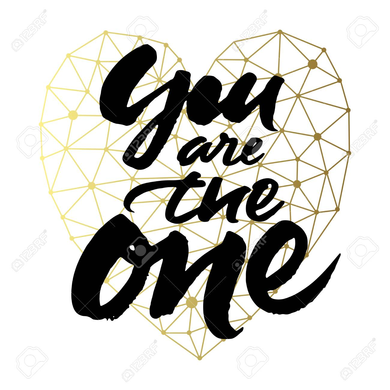 love card design with hand brush lettering you are the one on golden geometric
