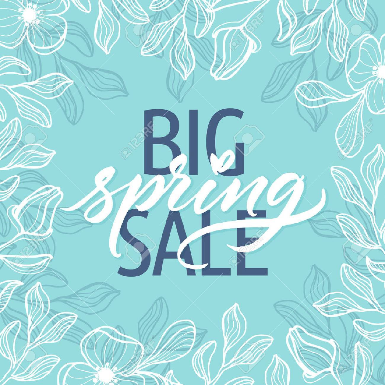 Big spring sale! Spring beautiful modern calligraphy. Hand drawn spring floral background. - 53296554
