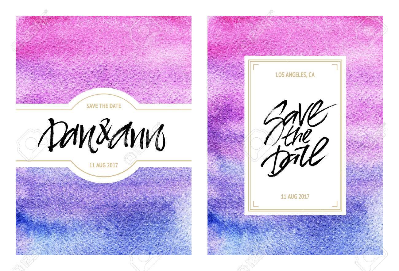 Aquarell Vorlagen Von Einladungen Hochzeitskarten Oder Grusskarten