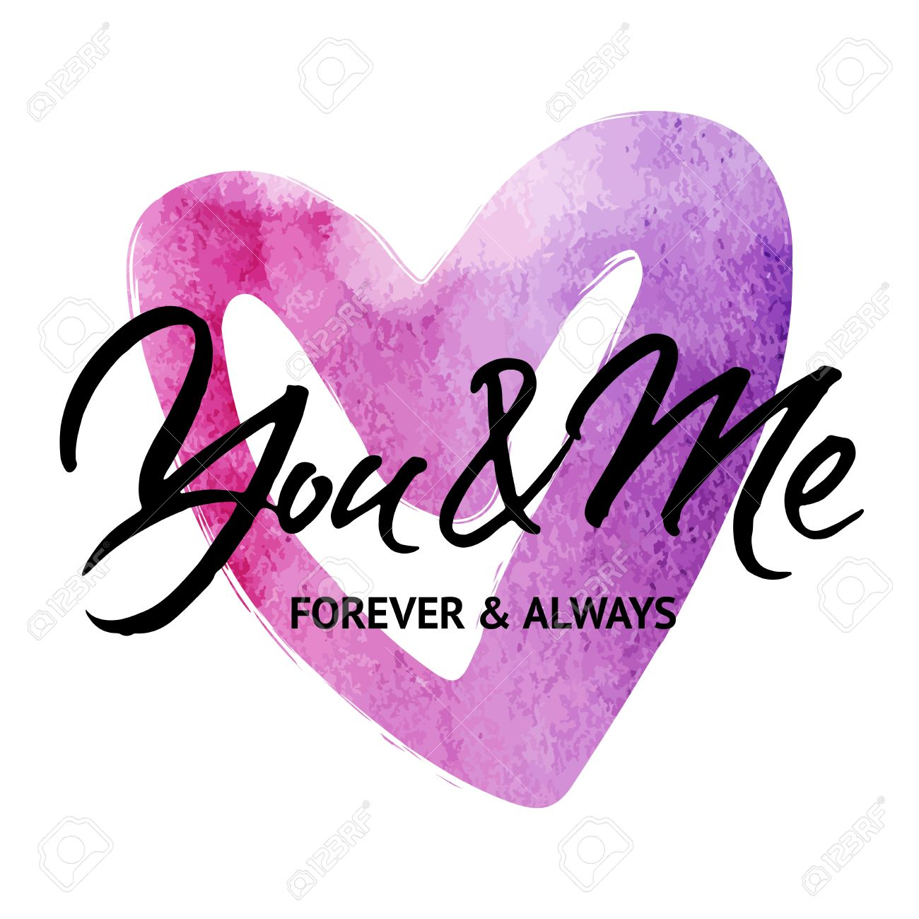 Wedding Card With Words You And Me Forever And Always Modern