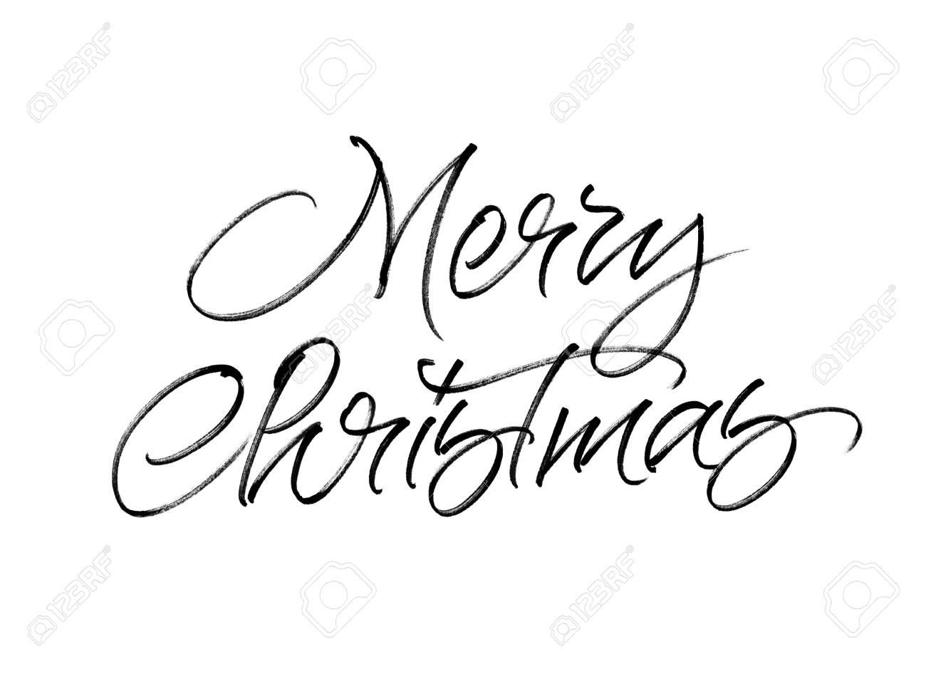 白い背景に分離されたメリー クリスマス手書き書道