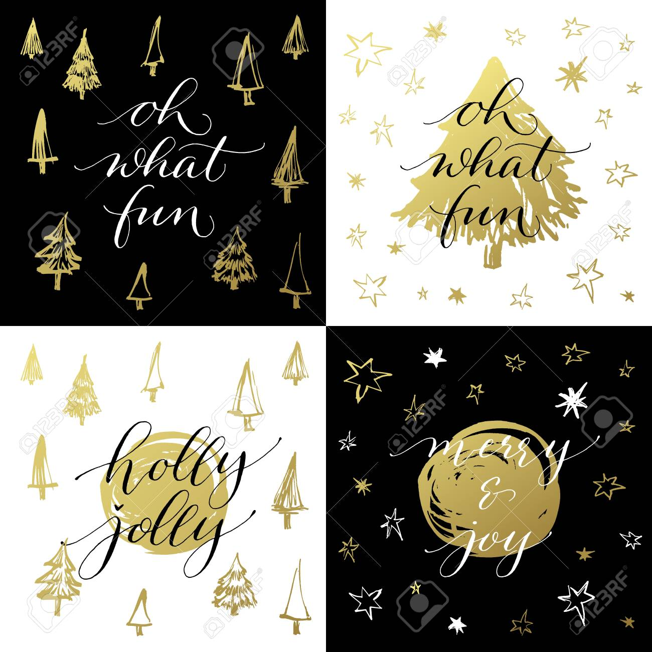 set of christmas greeting cards xmas calligraphy oh what fun holly jolly merry