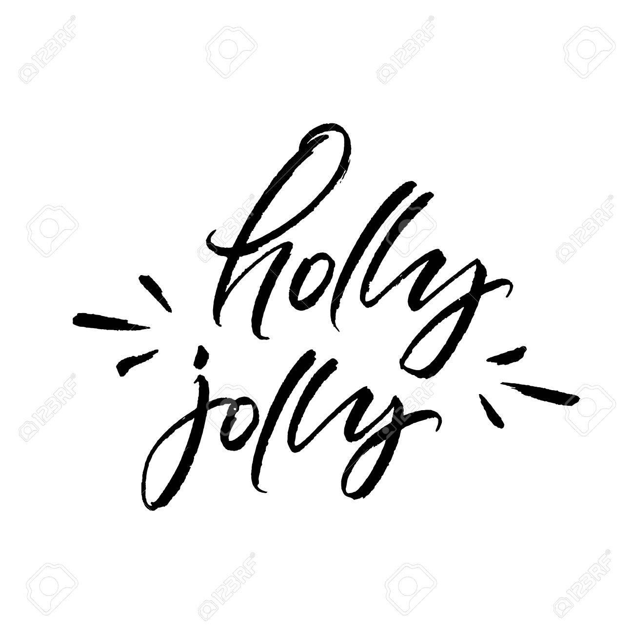 Holly Jolly Christmas Brush Calligraphy Isolated On White Background ...