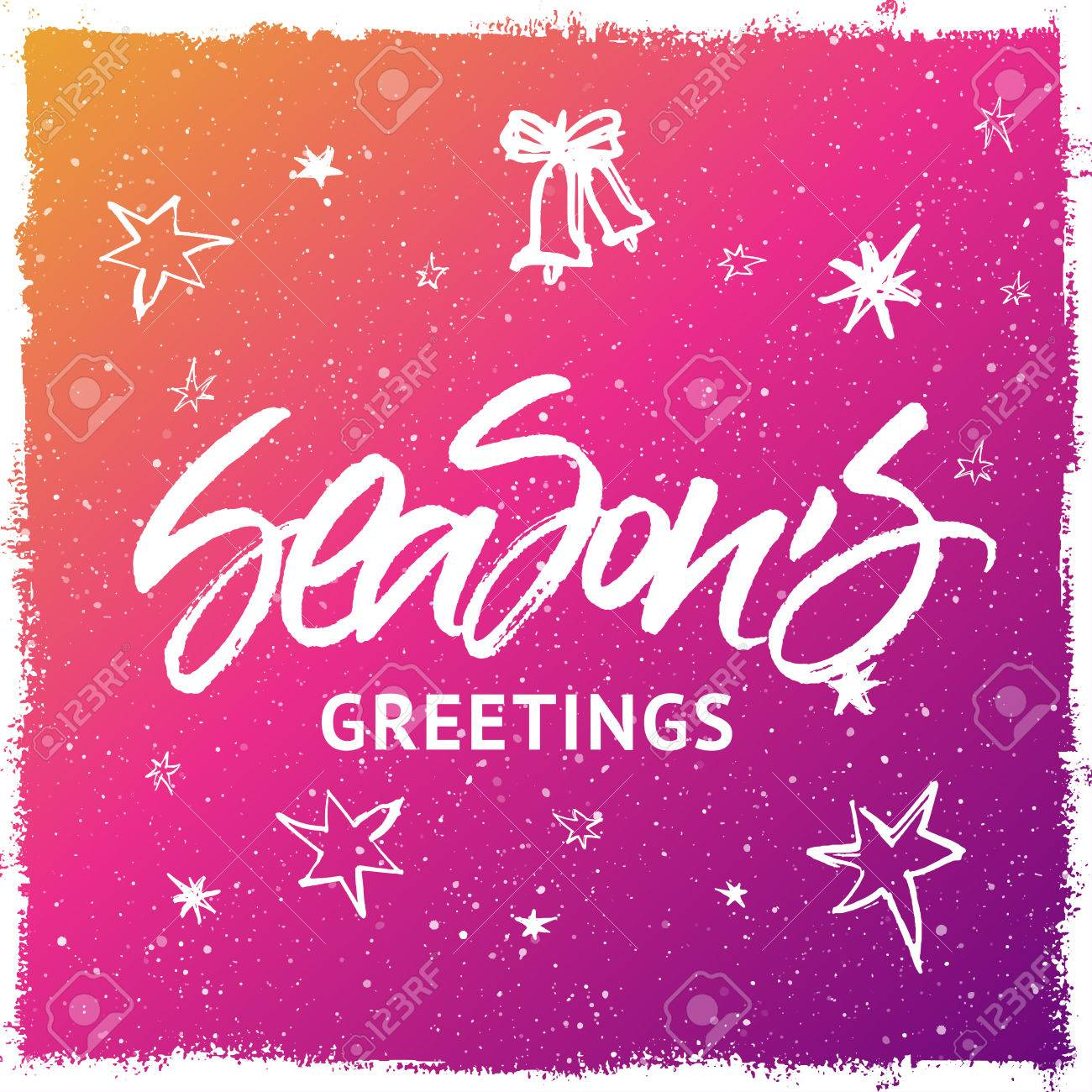 seasons greetings christmas and new year greeting card handwritten brush lettering colorful purple and