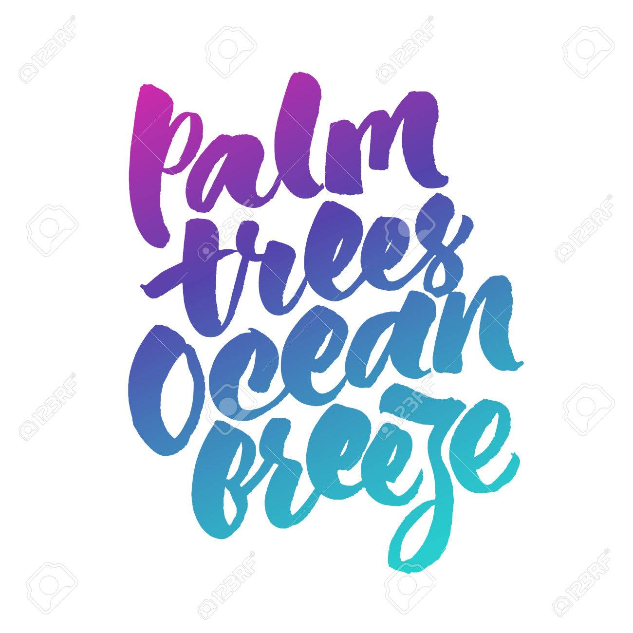 Palm Trees Ocean Breeze Inspirational Summer Quote Royalty Free