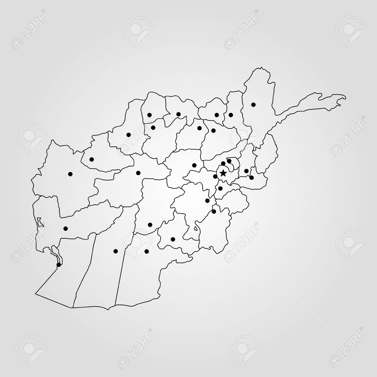 Map Of Afghanistan. Vector Illustration. World Map Royalty Free ...