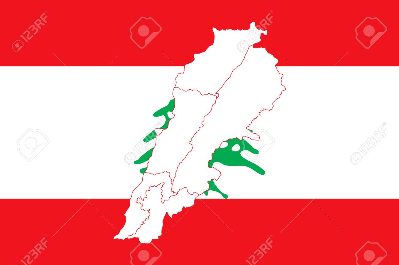 Map And Flag Of Lebanon Vector Illustration World Map Royalty Free