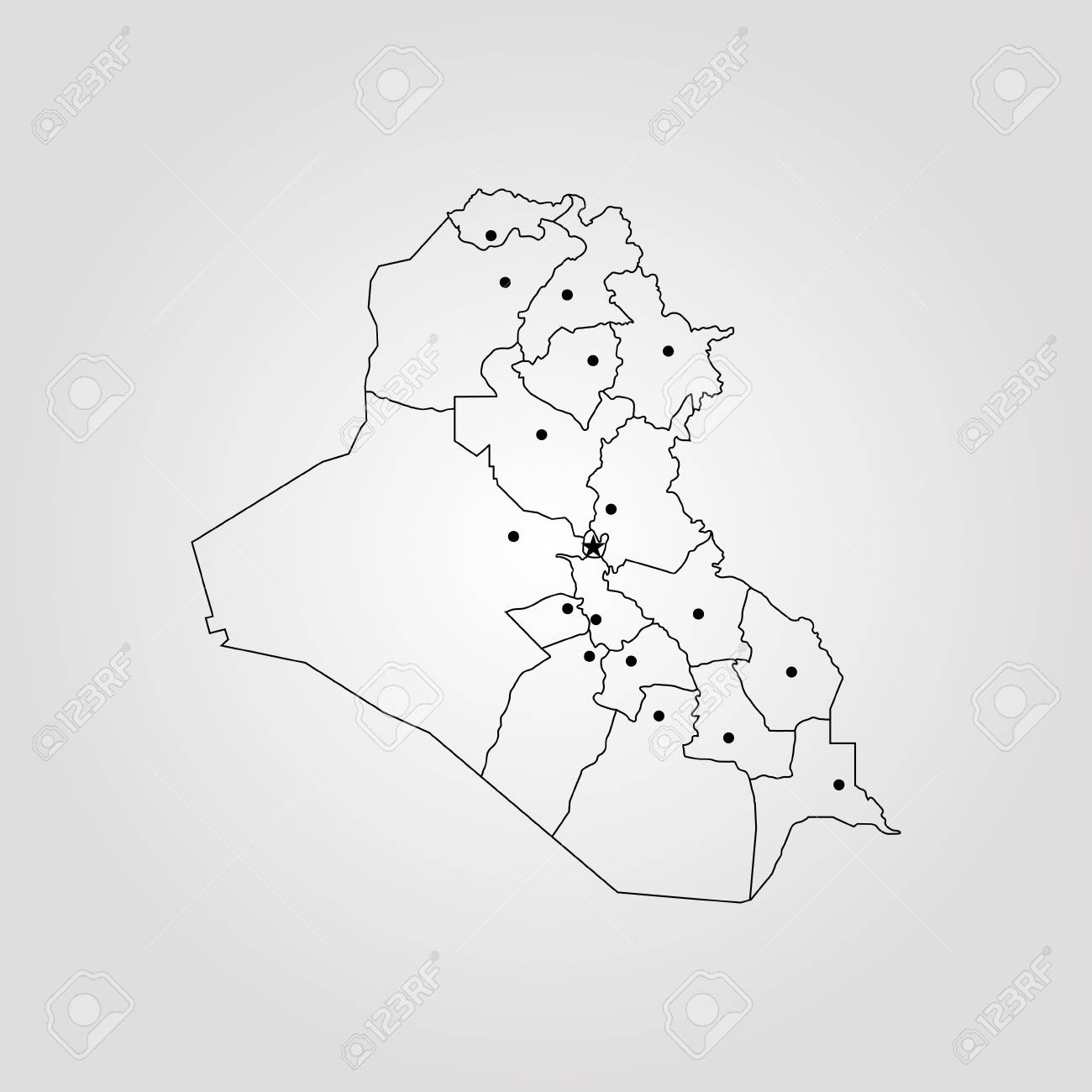 Map of Iraq. Vector illustration. World map