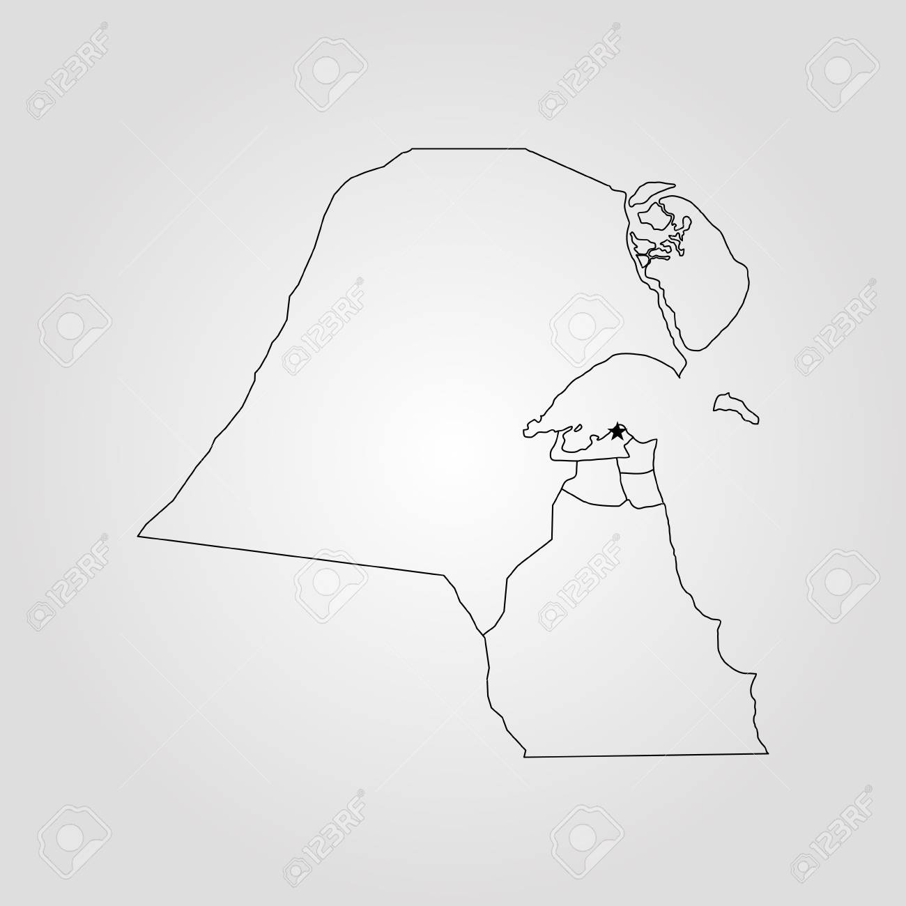 Map Of Kuwait. Vector Illustration. World Map Royalty Free Cliparts ...