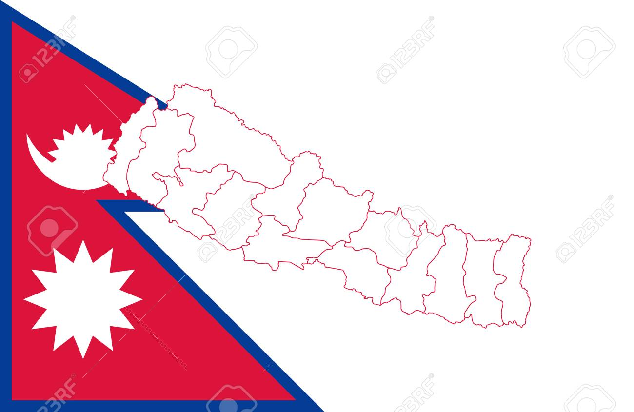 Nepal In The World Map.Map And Flag Of Nepal Vector Illustration World Map Royalty Free
