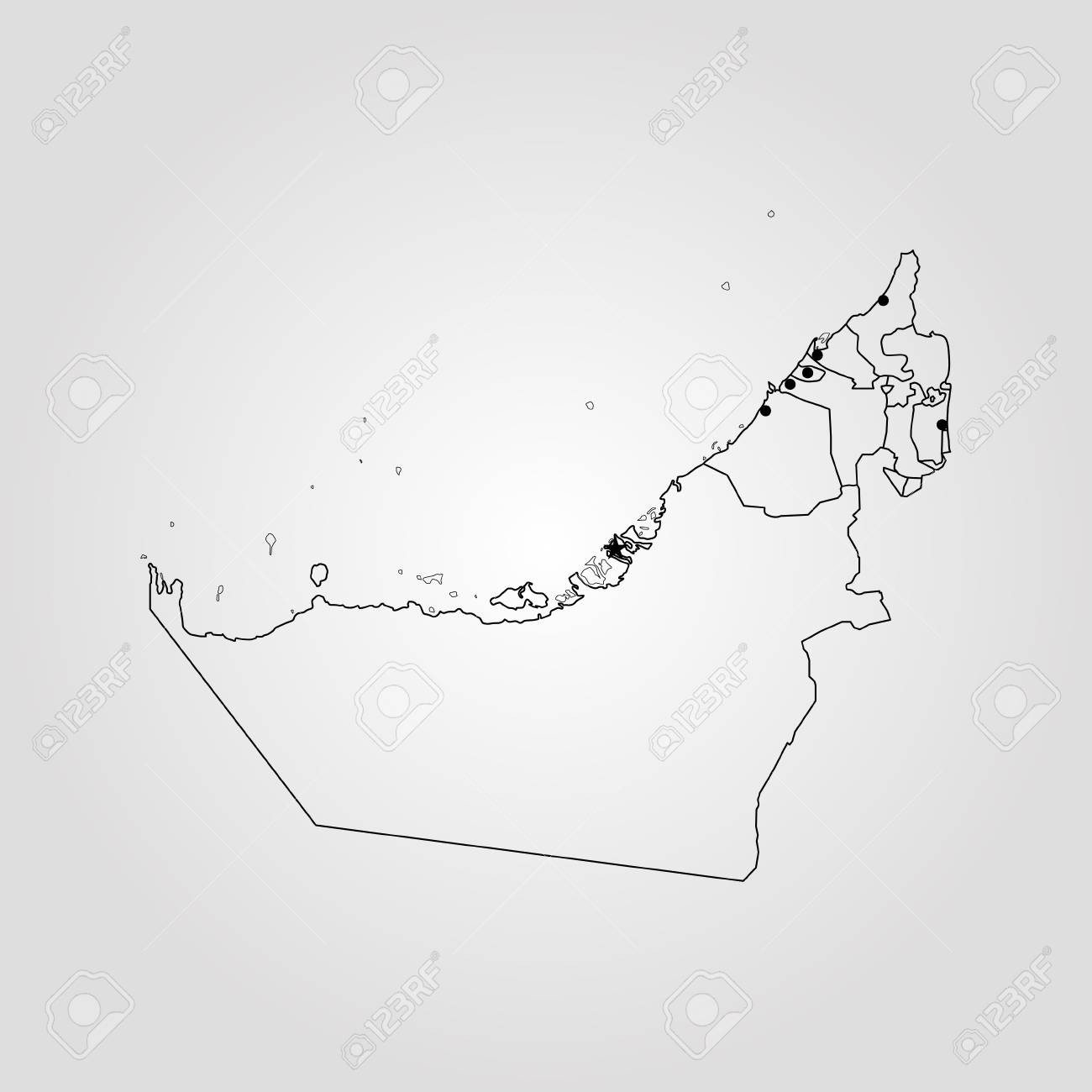 Map Of United Arab Emirates. Vector Illustration. World Map Royalty ...