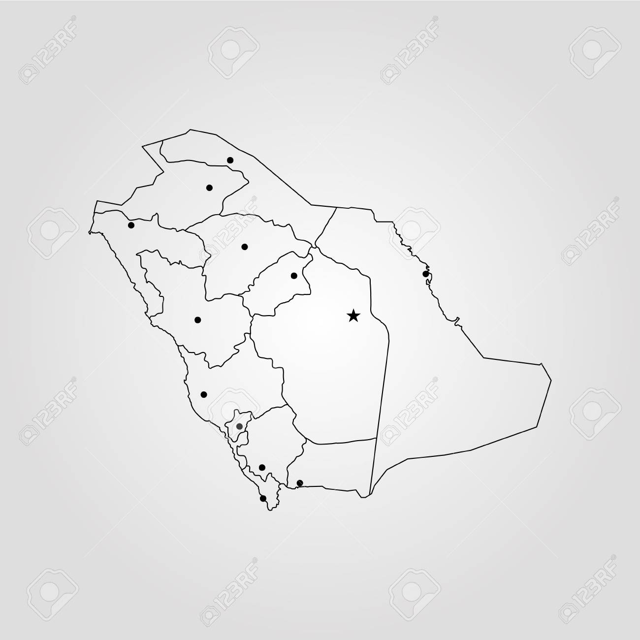 Map of Saudi Arabia. Vector illustration. World map