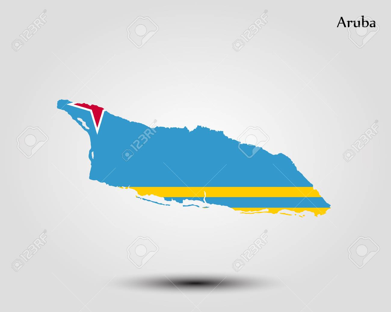 Map of Aruba. Vector illustration. World map
