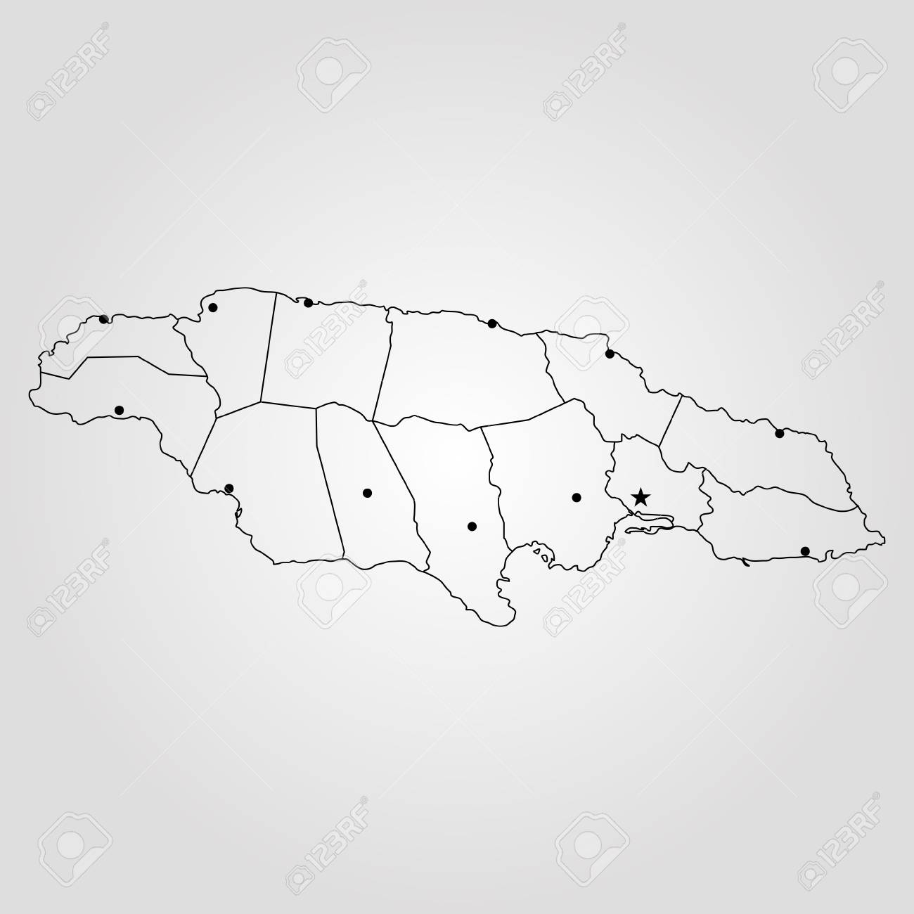 Map of Jamaica. Vector illustration. World map