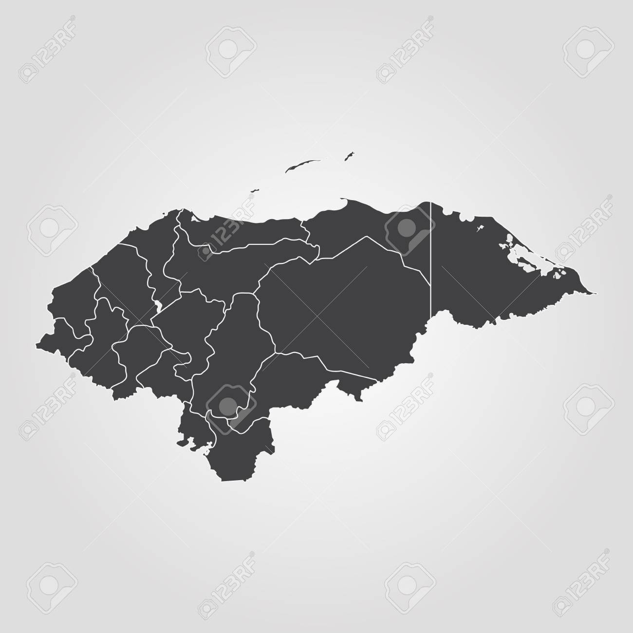 Map Of Honduras. Vector Illustration. World Map Royalty Free ...