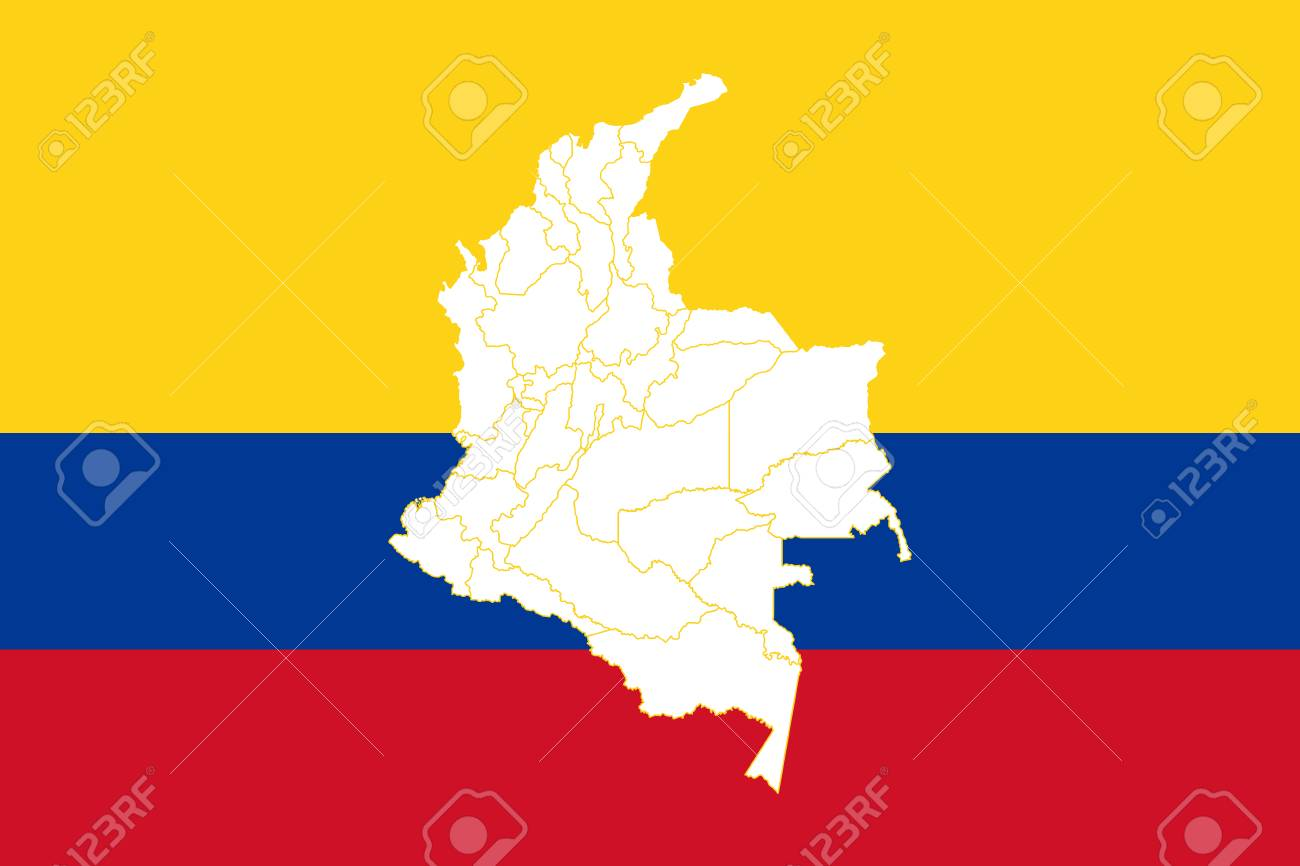 Map And Flag Of Colombia. Vector Illustration. World Map Royalty ...