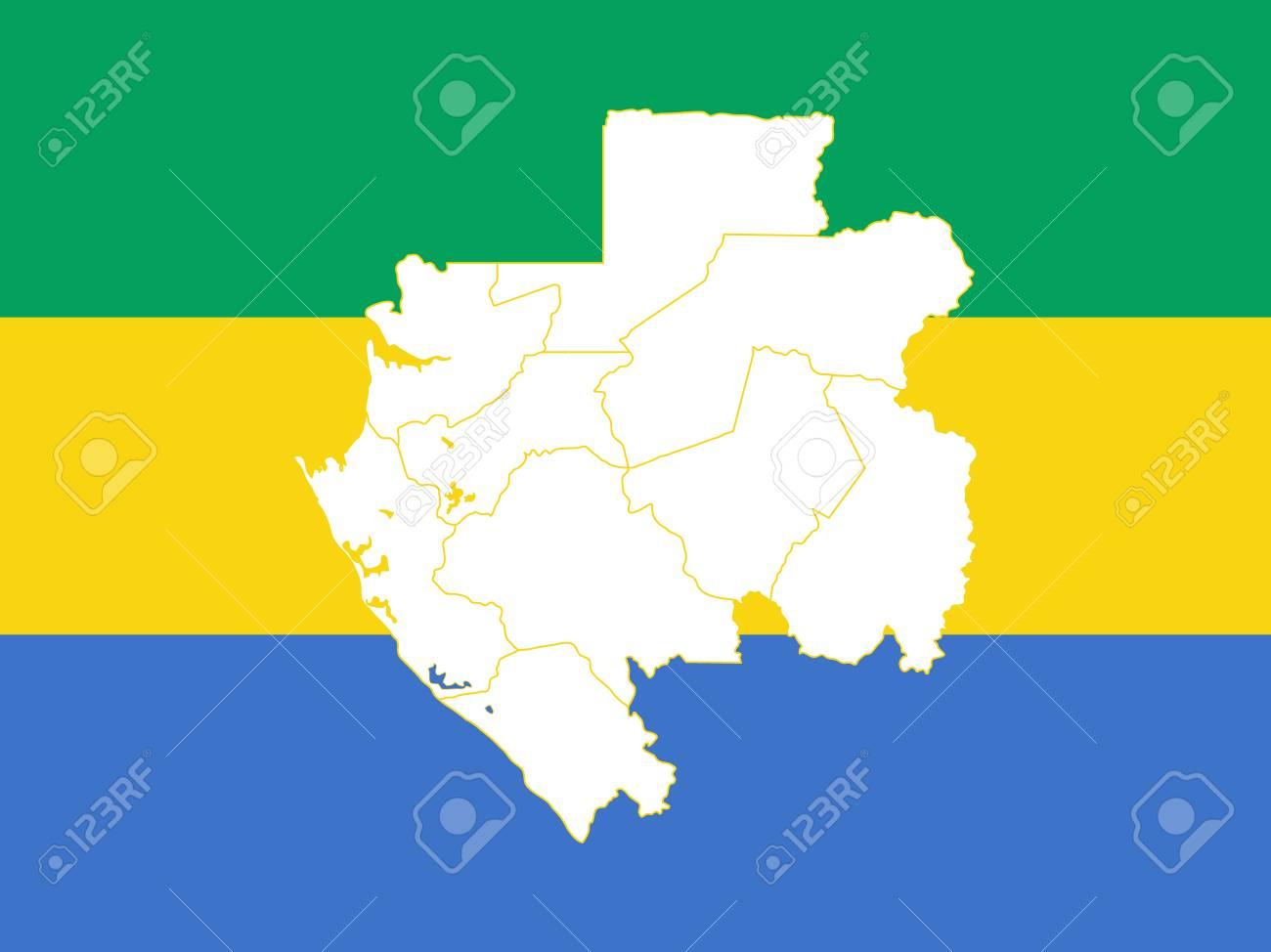 Gabon World Map.Map And Flag Of Gabon Vector Illustration World Map Royalty Free
