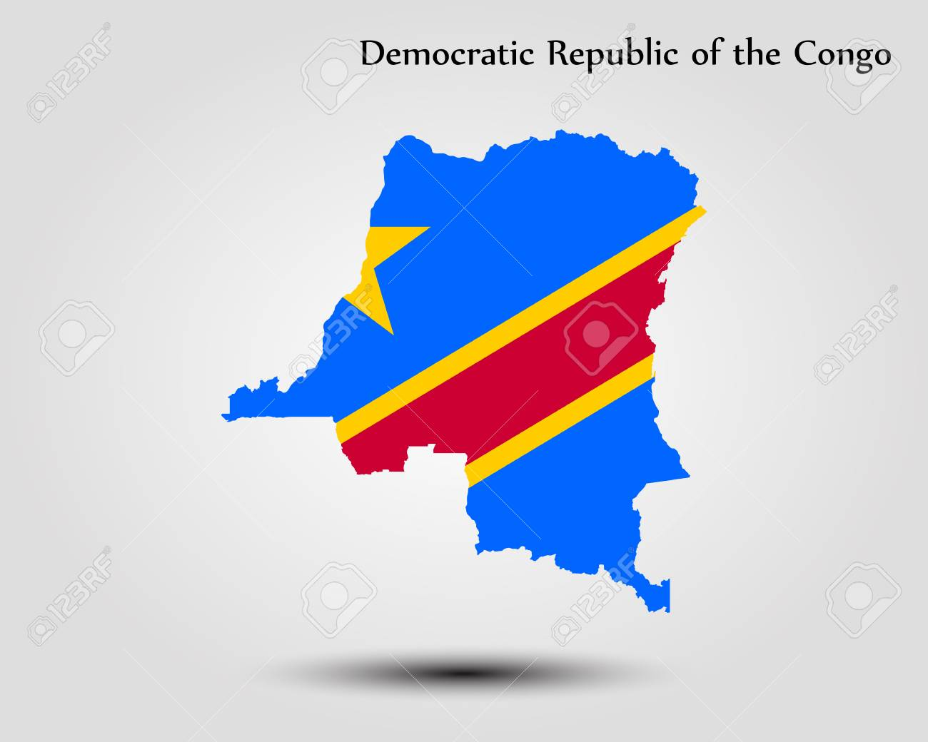 Map Of Democratic Republic Of The Congo Vector Illustration