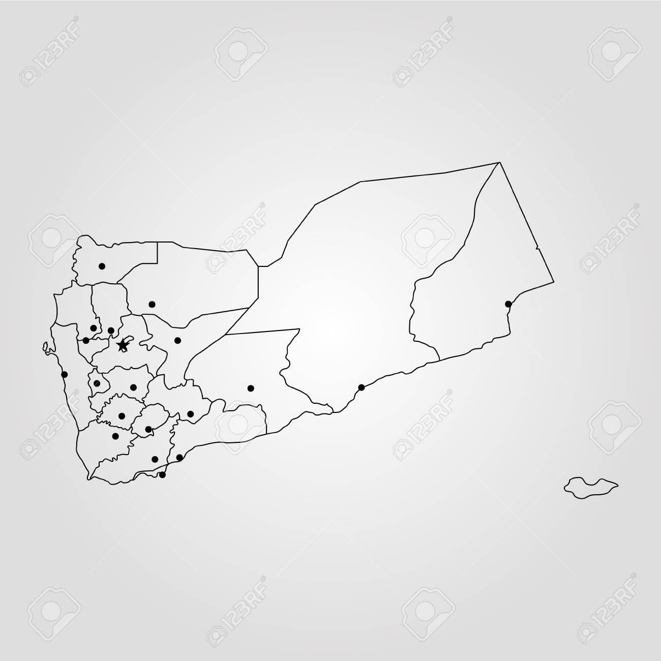 Map of Yemen. Vector illustration. World map
