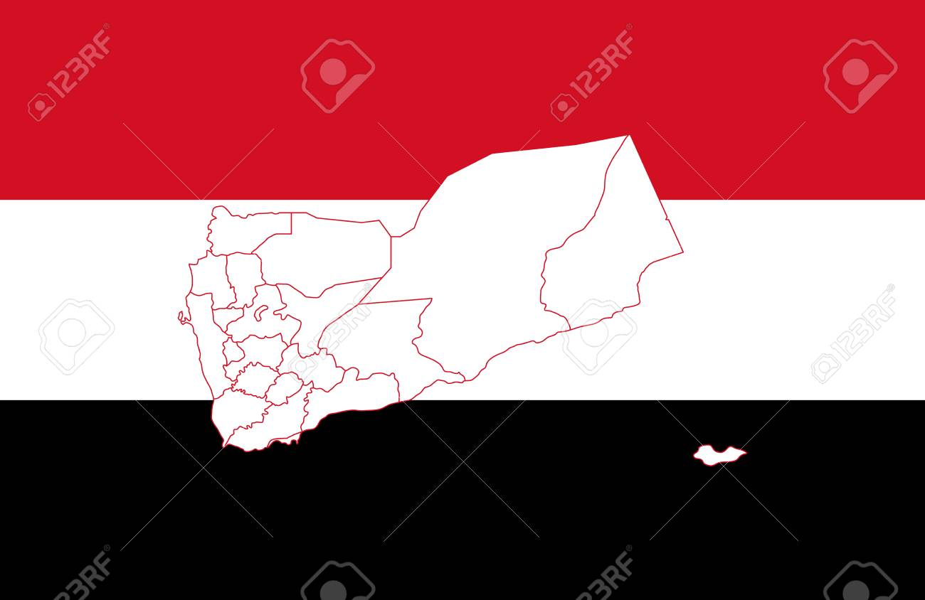 Map And Flag Of Yemen Vector Illustration World Map Royalty Free
