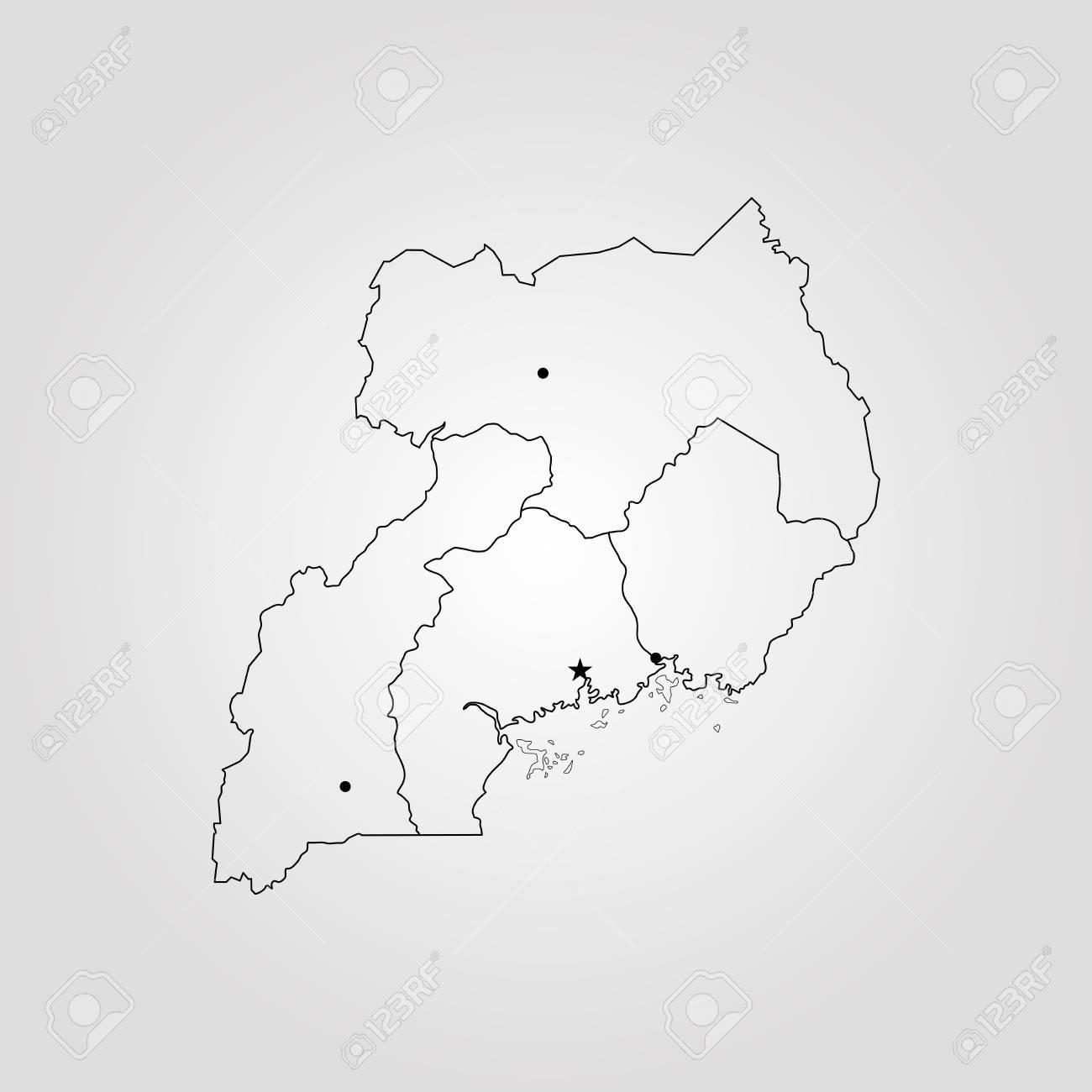 Map of Uganda. Vector illustration. World map